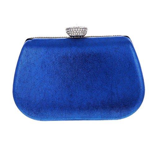 Damara Moda Fiesta Caja Dura Cartera De Embrague Para Mujer Teléfono,Azul Plateado