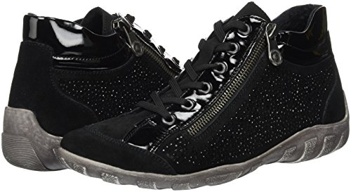 Para Mujer R3487 schwarz schwarz schwarz Negro 02 Altas Remonte Zapatillas twI7q4Hw