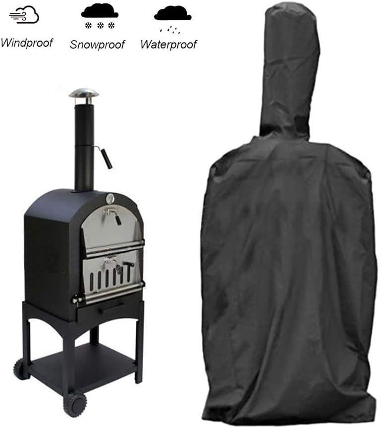 ZJY Pizza Oven Cover, Pellet Smoker Covers Waterproof Weather-Resistant Heavy 210D Oxford Cloth - 26.7x24.8x62.9in - Ideal Outdoor BBQ Tool Protective Gear