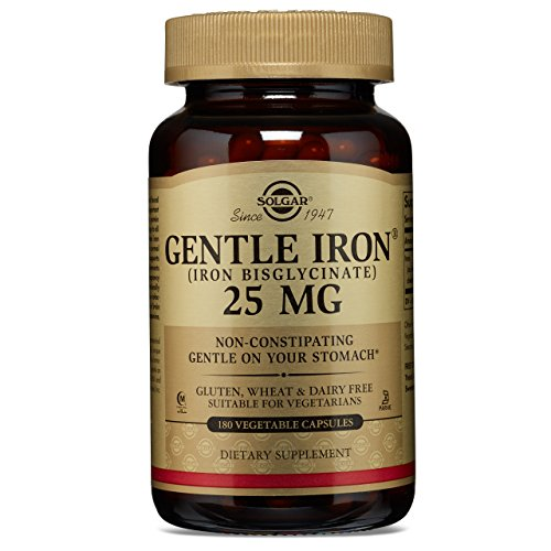 Solgar - Gentle Iron Vegetable Capsules, 25 MG, 180 Count - Promotes Red Blood Cell Production