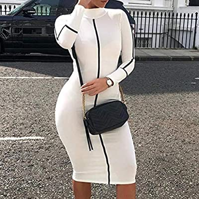 Fashion Women Casual Summer Stand Color Block Long Sleeve Stretch Slim Dress
