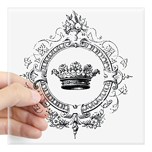 CafePress - Vintage French Crown Sticker - Square Bumper Sticker Car Decal, 3