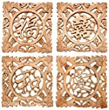 Oriental Furniture Wooden Feng Shui Plaques - Set of 4