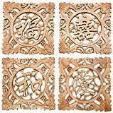 Oriental Furniture Wooden Feng Shui Plaques - Set of 4
