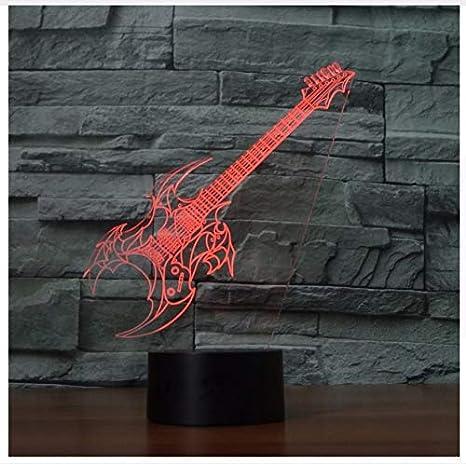 Lámpara de mesa 3D Dormitorio led Oficina de música Decoración para el hogar 7 Cambio de