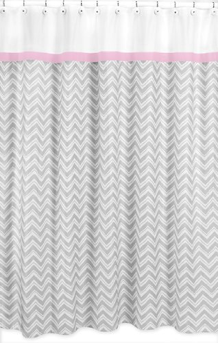 Sweet Jojo Designs Pink and Gray Chevron Zig Zag Kids Bathroom Fabric Bath Shower Curtain by Sweet Jojo Designs