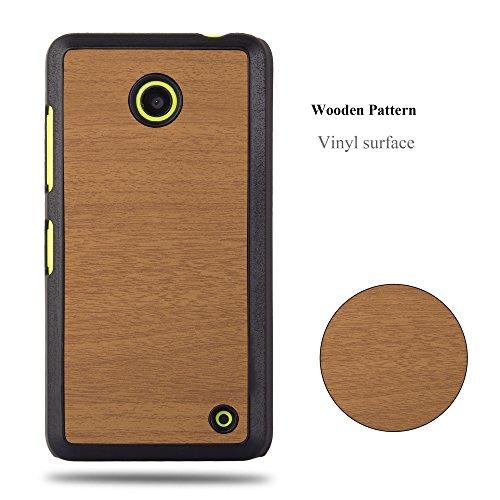 Cadorabo �?Hard Cover Protección para Nokia Lumia 630 en Diseño Woody �?Case Cover Funda Protectora Carcasa Dura Hard Case de Estilo Madera en WOODY-CAFÉ WOODY-MARRÓN