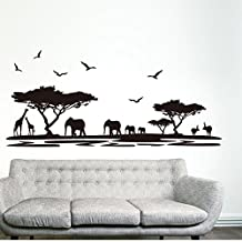 Black Trees Animals Birds Wall Decal Home Sticker Paper Removable Living Room Bedroom Art Picture DIY Mural Girls Boys kids Nursery Baby Playroom Decoration + Gift Colorful Butterflies
