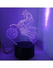 LEDMOMO 3D lamp nachtlampje Mood Light tafellampen 3D optische illusie bureaulamp 7 kleurveranderingen Touch Switch Night Light (motorfiets)