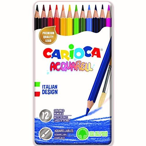Carioca Acquarell Metal Box of 12 Pencils, Multi-Colour