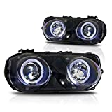 Winjet WJ10-0216-04 Projector Halo Headlights for 1994-1997 Acura Integra - Black/Clear