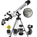 Landove Telescope, 60mm AZ Refractor Telescope with 10mm Smartphone Digiscoping Adapter - Observer 60mm AZ Refractor & Travel Scope Starter Kit (60mm AZ Refractor Telescope)