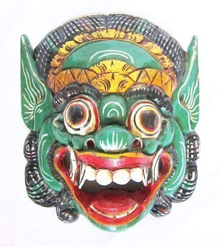 New Double Duck Green Wooden Monkey Mask Of Barong Wall Mask Hand- Carved In Bali