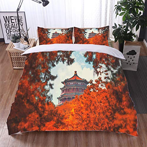 HOOMORE Single-Sided Pattern Custom Polyester Bed Cover - 3-Piece Duvet - All Seasons, depict - Summer Imperial Palace-King