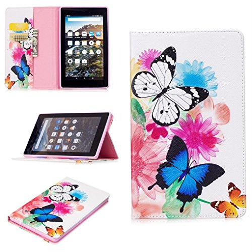 For Amazon Kindle Fire HD 7 2017 Tablet Flip Folding PU Leather Stand Case Cover (Color C)