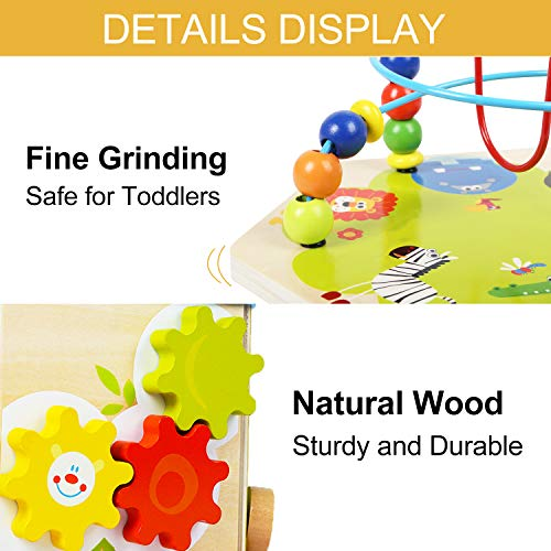 TOP BRIGHT Activity Cube Toys Baby Educational Wooden Bead Maze Shape Sorter 7-in-1 Toys for 1 Year Old Boy and Girl Toddlers Gift by TOP BRIGHT (Image #4)
