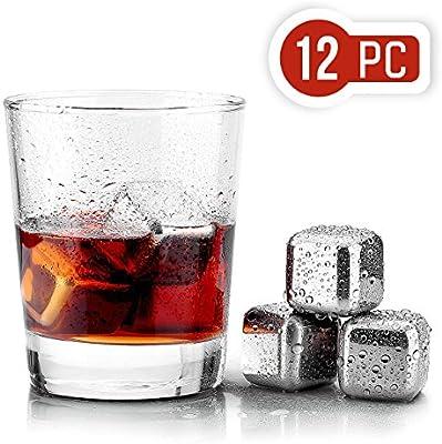 Compra Uten 12PCS Cubos de Hielo Whisky Acero Inoxidable Piedras ...