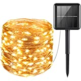 AMIR Upgraded Solar Powered String Lights, 100 LED Copper Wire Lights, Fairy Lights, Indoor Outdoor Waterproof Solar Decoration Lights for Gardens, Home, Dancing, Party, Christmas (Warm White)