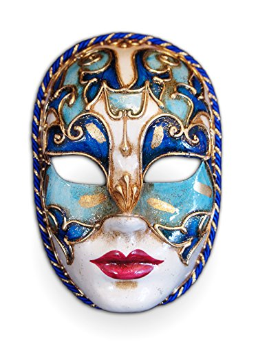 Voltes 5 Costume (Venetian Full Face Mask Volto Cordone for Women (blue))