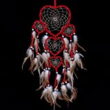 Large Handmade Dream Catcher Traditional Dreamcatcher Feather Wall Hanging Decoration Ornaments Five Hearts Red