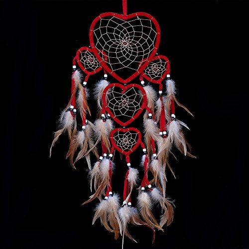 WESTONETEK Large Handmade Dream Catcher Traditional Dreamcatcher Feather Wall Hanging Decoration Ornaments Five Hearts - Heart 5 Hanging Wall