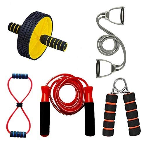 Vantage® 5 in 1 Combo Ab Wheel Roller with Hnad Grip & Double Toning Tube Exerciser with D Handle Fitness Rope with Soft Figure 8 Yoga and Resistance Exercise Band with Skipping-Rope Price & Reviews