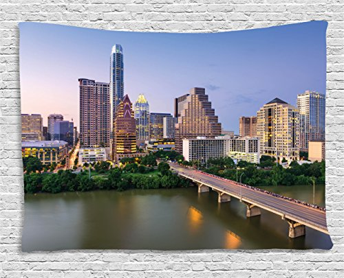 Ambesonne Modern Tapestry, Austin Texas American City Bridge Over The Lake Skyscrapers USA Downtown Picture, Wall Hanging for Bedroom Living Room Dorm, 60 W X 40 L Inches, Sky -