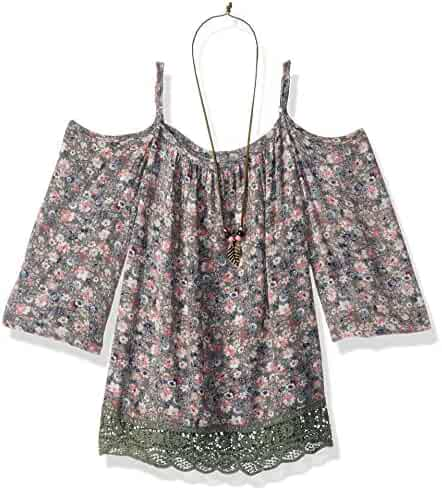Beautees Big Girls' Ditsy Print Cold Shoulder Top with Lace Hem