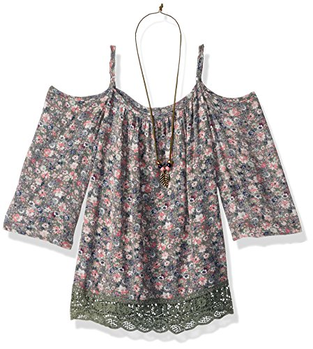 Beautees Girls' Big Ditsy Print Cold Shoulder Top with Lace Hem, Pesto, S -
