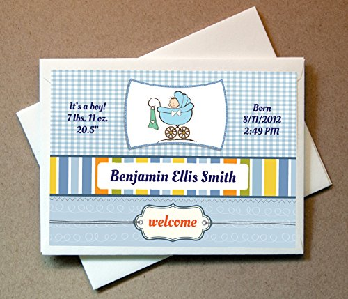 Personalized Birth Announcements (30 Cards and Envelopes)