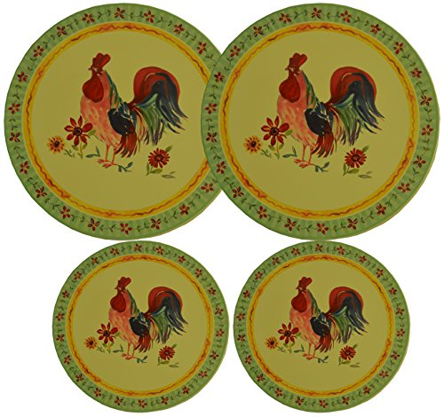 Set 4, Round Stove Top Burner Covers - Rooster Design. #82-574 ()