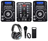 (2) EPSILON CDUSB-7000 DJ Scratch CD Digital Turntables+Mixer+Headphones+Mic