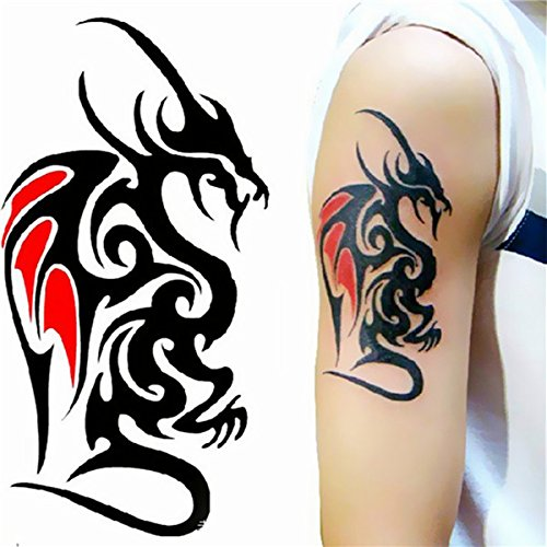 Temporary Tattoos - Dragon Tattoo Stickers Waterproof Temporary y Arm Leg Tattoos Women Men - Temporary Tattoo Tattoos Mens Tribal Sticker Male Boho Neck Guys Dragon Stickers - For Men - 1PCs