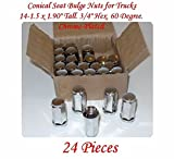 """24 PCS 611-187 PIECES CONICAL SEAT BULGE NUTS FOR TRUCKS M14x1.5 1.9"""" Tall Fits: CHEVROLET K1500 PICKUP 88-99 K1500 SUBURBAN 92-99 K2500 PICKUP 88-00 K2500 SUBURBAN 92-99 K3500 PICKUP 88-00"""