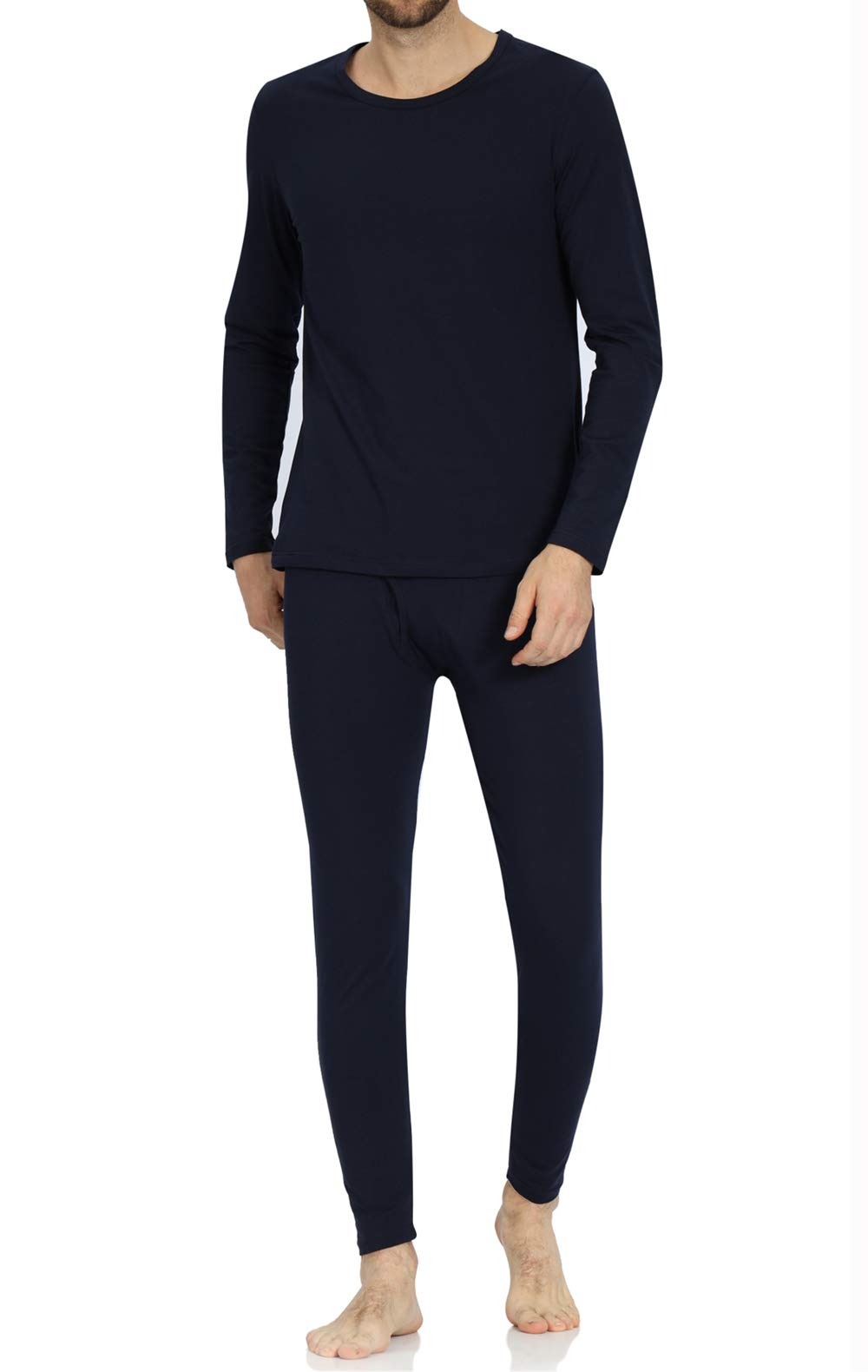 Men's Soft Thermal Underwear Set Cotton Long Johns Underwear Base Layer Top and Bottom Navy by FTIMILD