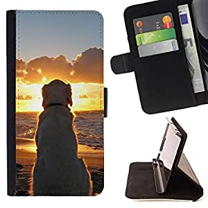 DEVIL CASE - FOR Apple Iphone 5 / 5S - Labrador Golden Retriever Sunset Ocean Dog - Style PU Leather Case Wallet Flip Stand Flap Closure Cover