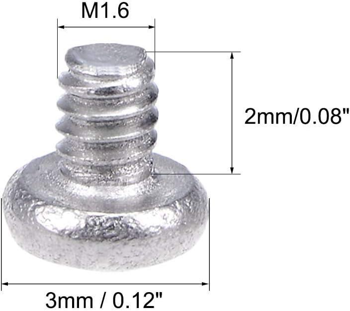 uxcell M1.6x2mm Machine Screws Pan Phillips Cross Head Screw 304 Stainless Steel Fasteners Bolts 50Pcs