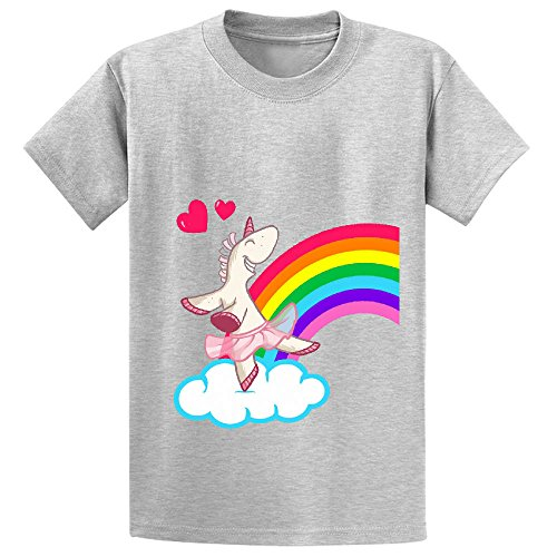 Snowl The Geekies Rainbow Unicorn Youth Crew Neck Customized Shirts Grey