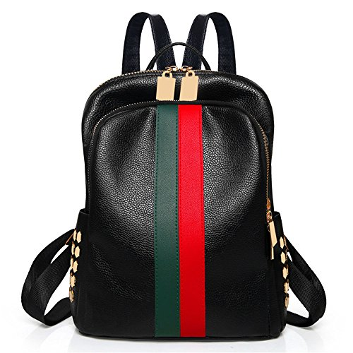 Mynos Fashion Double Zippers Women Mini Backpack Bag Teenager School Backpack (Red...