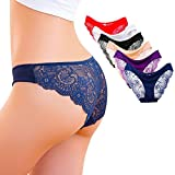 Kingfung 6 Pack Women's Invisible Seamless Bikini Underwear Half Back Coverage Panties (6Pack-C M)