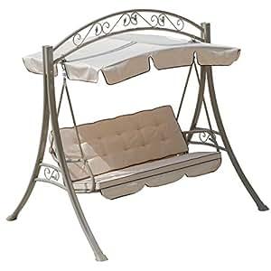 3 Seats Hammock Swing Canopy Deluxe Chair Outdoor Patio Furniture Beige