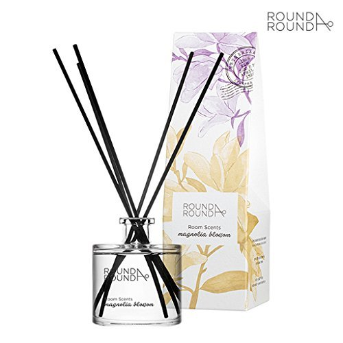 Woody Floral Scent ([ROUND A'ROUND] Room Scents 100ml # Magnolia Blossom - Elegant Floral Scent Perfumed Reed Diffuser for Home and Room, Fragrant Homes, Rooms, Office, Bathroom, Living room)