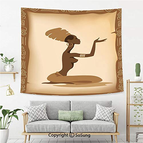 8' Wool Purse - SoSung African Woman Wall Tapestry,Ancient Folk Art Element Frame Native Lady Hand Gesture Tribal Antique Decorative,Bedroom Living Room Dorm Wall Hanging,92X70 Inches,Brown Light Brown