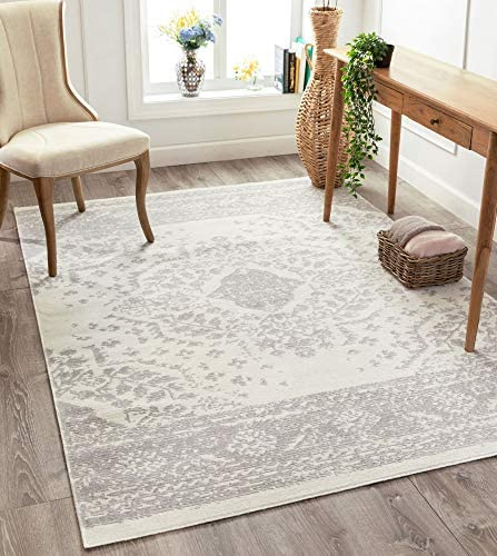 Well Woven Pasza Ivory Floral Medallion Area Rug 8×10 7 10 x 9 10