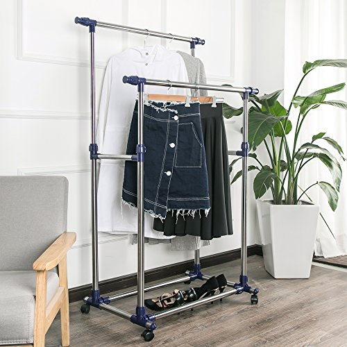 SHELVING SOLUTIONS Adjustable Garment Rack Clothes Rack, Rolling Stainless Steel Clothing Rack (2 Rods)