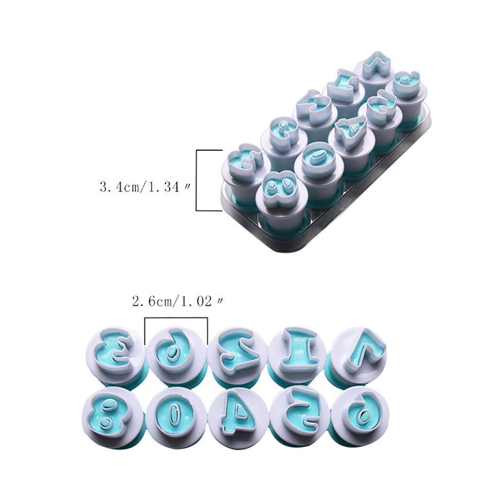 Wei/ß Oksea 0-9 Digitale Bombenkuchenstempelform Kuchen Werkzeugkasten Digital Fondant Stempel mit DIY Form K/üchenger/äten