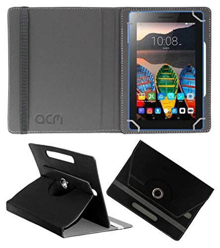 Acm Rotating Leather Flip Case Compatible with Lenovo Tb3 710i  Namo E Tab  Tablet Cover Stand Black