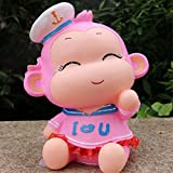 Kawaii Cute Navy monkey Piggy Bank Resin Personalized Baby Nursery Decor Home Furnishing decoration Pink