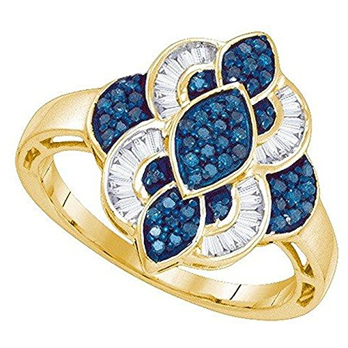 0.45 Carat (ctw) 10K Yellow Gold Round & Baguette White & Blue Diamond Micro Pave Right Hand Ring 1/2 CT
