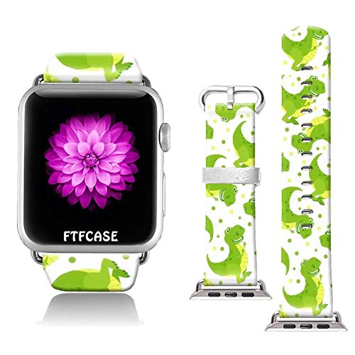 FTFCASE Compatible with Apple Watch Band 42mm 44mm, Soft Leather Replacement Sport Bands Compatible with iWatch 42mm 44mm Series 4/3/2/1 - Cartoon Dinosaur Pattern